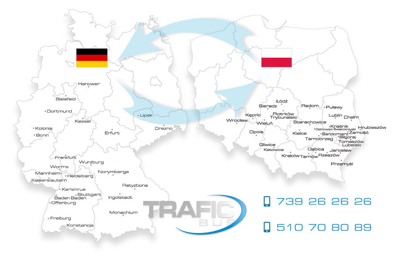Przewozy Polska Niemcy busy osobowe Mapa