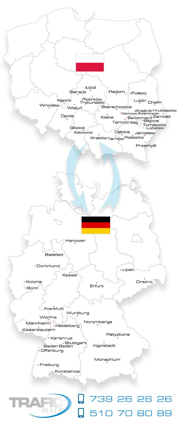 Przewozy Polska Niemcy busy osobowe Mapa i kieruków